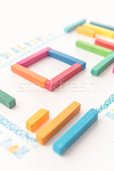 Cropped photo of geometric pattern made of colorful pastel chalk Stock photo © deandrobot
