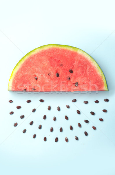 Close up of watemelon's slice and stones Stock photo © deandrobot