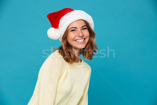 Picture of Smiling woman in sweater and christmas hat Stock photo © deandrobot