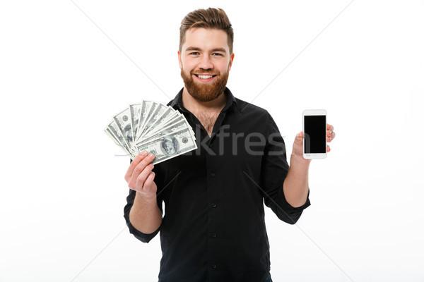 улыбаясь бородатый деловой человек рубашку деньги Сток-фото © deandrobot