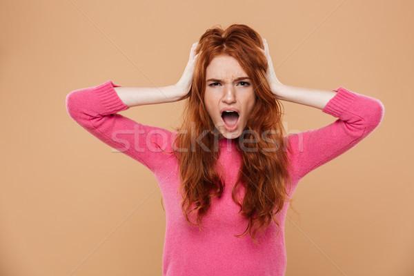 Portret ontdaan jonge meisje Stockfoto © deandrobot