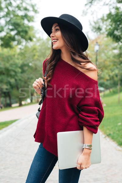 Ritratto gioioso ragazza Hat maglione asian Foto d'archivio © deandrobot