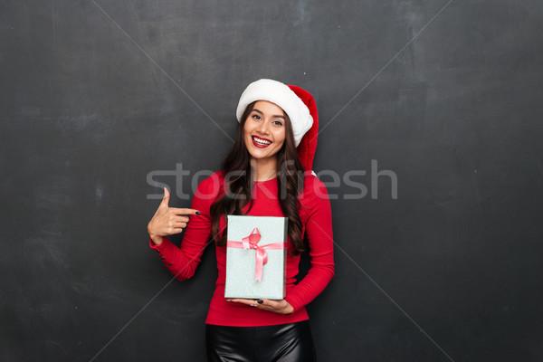 счастливым брюнетка женщину красный блузка Рождества Сток-фото © deandrobot