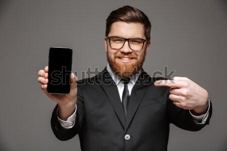 Stockfoto: Portret · glimlachend · jonge · zakenman · pak · tonen