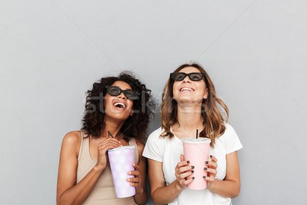 Portre iki gülen 3d gözlük Stok fotoğraf © deandrobot