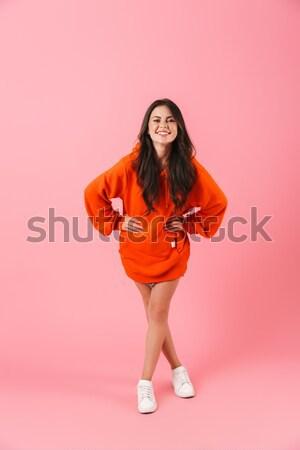 Teljes alakos portré csábító fiatal nő fürdőruha pózol Stock fotó © deandrobot