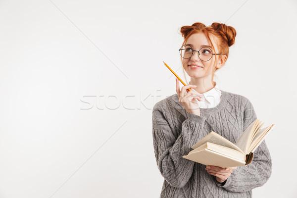 Ritratto sorridere giovani scuola nerd ragazza Foto d'archivio © deandrobot