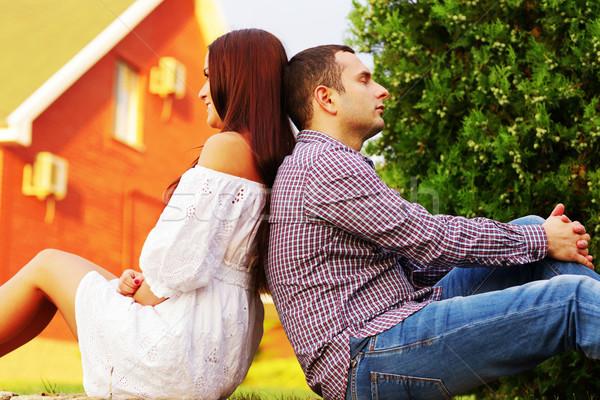 Trawnik domu drzewo miłości Zdjęcia stock © deandrobot