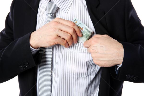 бизнесмен деньги кармана изолированный белый фон Сток-фото © deandrobot