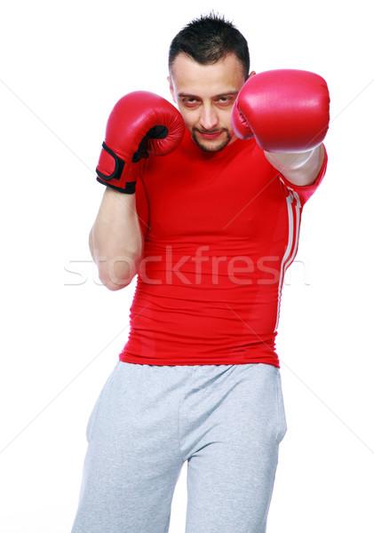 Fitnessz férfi piros boxkesztyűk izolált fehér Stock fotó © deandrobot
