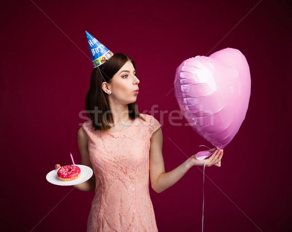 Stockfoto: Vrouw · hart · ballon · cake