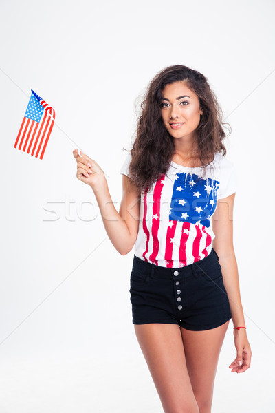 Retrato feliz muchacha adolescente EUA bandera Foto stock © deandrobot