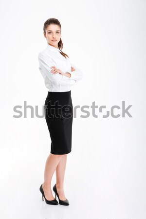 Portrait femme d'affaires permanent bras pliées Photo stock © deandrobot