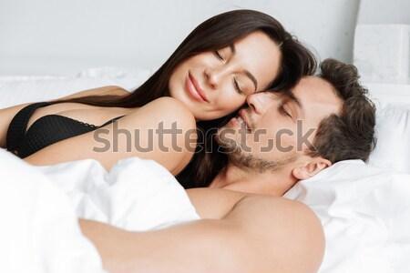 нежный любви кровать домой Сток-фото © deandrobot