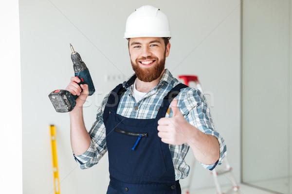 Portre sakallı adam oluşturucu matkap başparmak Stok fotoğraf © deandrobot