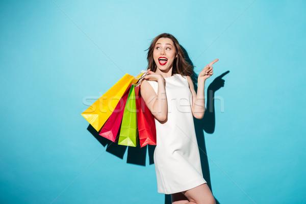 Retrato feliz animado menina colorido Foto stock © deandrobot