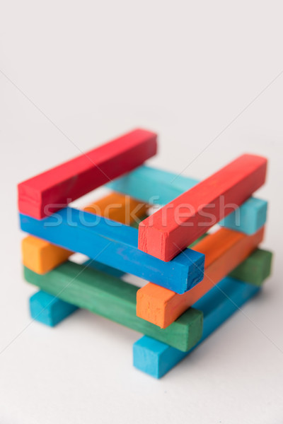 Close up of colorful chalks tower Stock photo © deandrobot