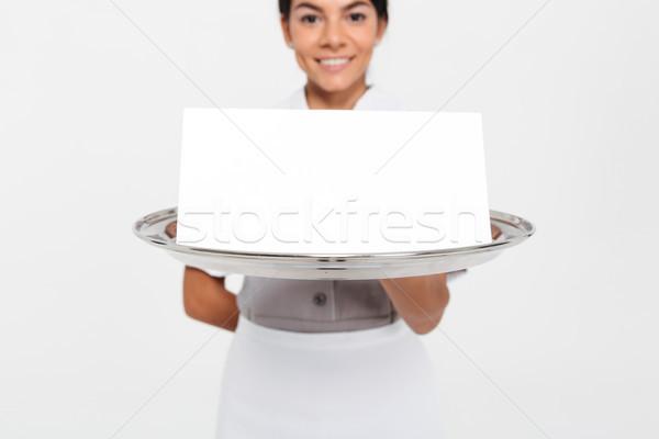 Vista foto jóvenes femenino camarero Foto stock © deandrobot