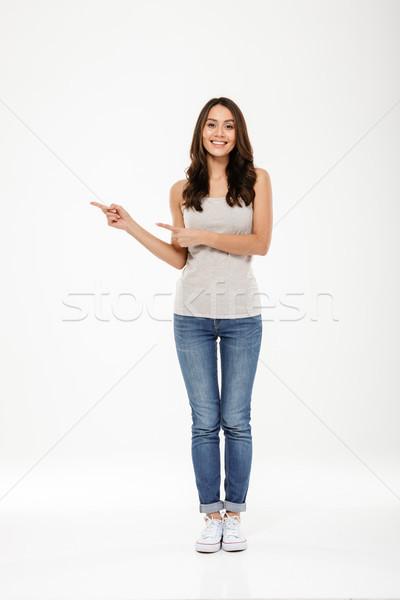 Bild zufrieden Brünette Frau Hinweis Stock foto © deandrobot