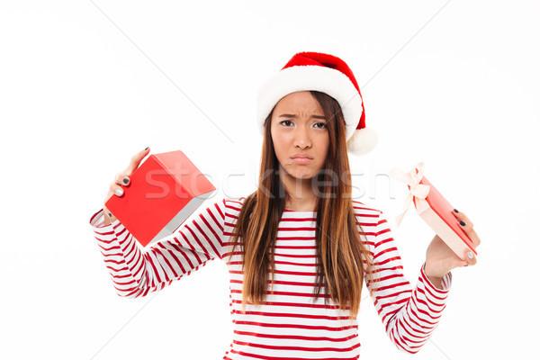 Portret rozczarowany asian dziewczyna christmas hat Zdjęcia stock © deandrobot