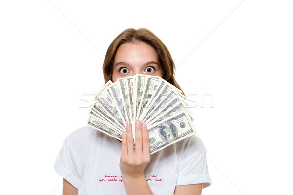 Close up portrait of an astonished happy girl Stock photo © deandrobot