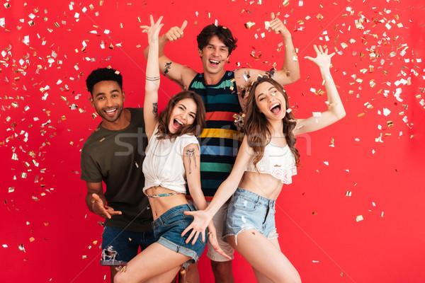 Portrait souriant groupe amis été Photo stock © deandrobot