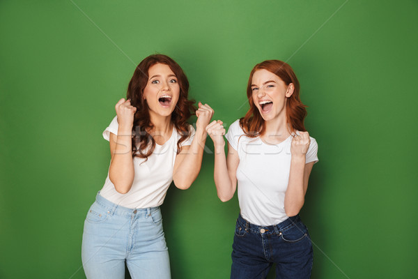 Portrait of two young redhead women 20s in casual wear rejoicing Stock photo © deandrobot