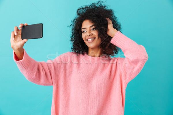 Foto imagen mujer hermosa teléfono celular sonrisa Foto stock © deandrobot