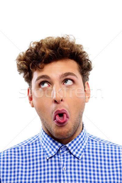 портрет молодым человеком языком лице человека Сток-фото © deandrobot