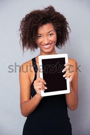 женщину экране портрет счастливым Сток-фото © deandrobot