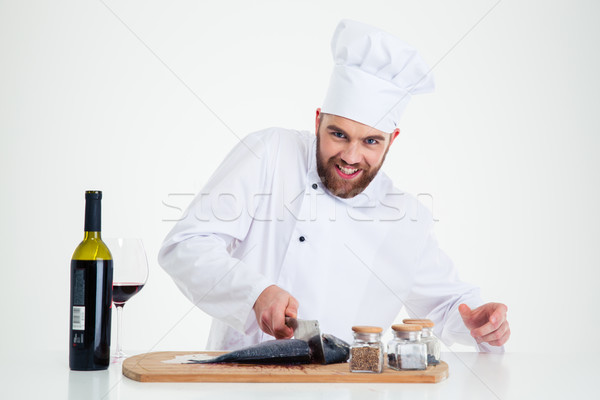 Portret glimlachend mannelijke chef kok Stockfoto © deandrobot