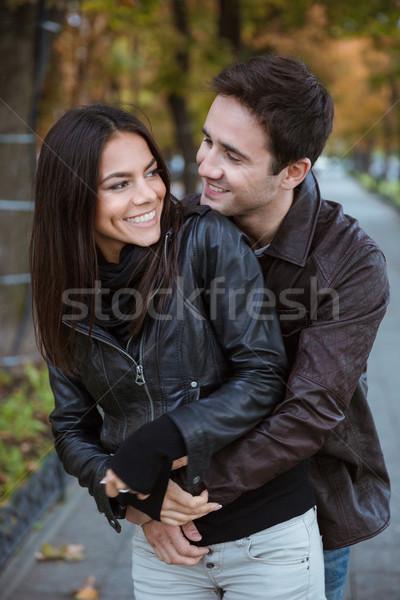пару дата улице портрет счастливым романтические Сток-фото © deandrobot