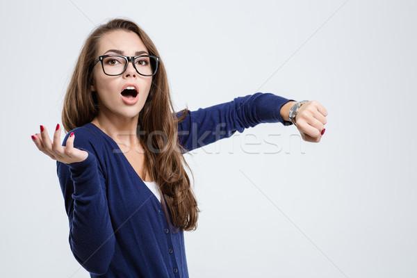 女性 手 見える カメラ ストックフォト © deandrobot