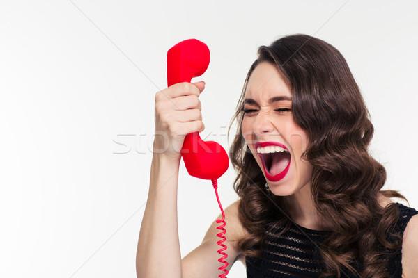 絶望的な 女性 レトロな ヘアスタイル 悲鳴 ストックフォト © deandrobot