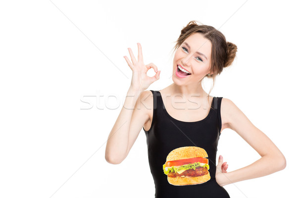 Positive beautiful young woman showing ok gesture  Stock photo © deandrobot
