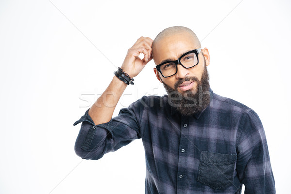 Pensive afro american man Stock photo © deandrobot