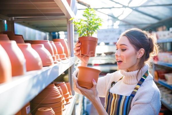 沈痛 女性 植木屋 ポット 工場 ストックフォト © deandrobot