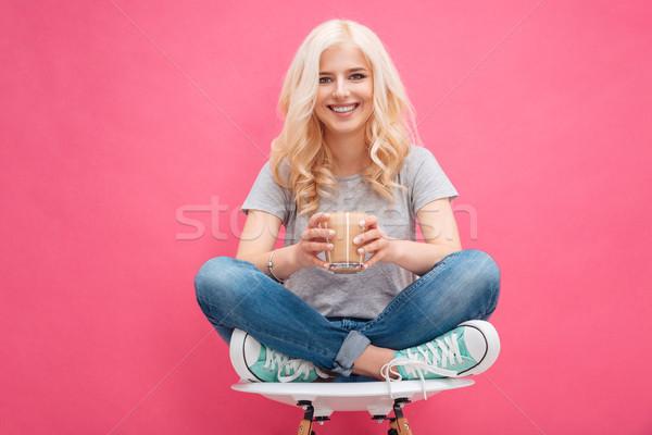 Heureux femme verre cappuccino femme blonde Photo stock © deandrobot