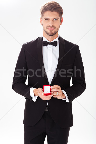 Stockfoto: Portret · bruidegom · ring · bruiloft · mannelijke · permanente