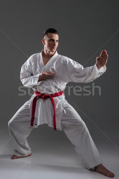 Young sportsman in kimono practice in karate Stock photo © deandrobot