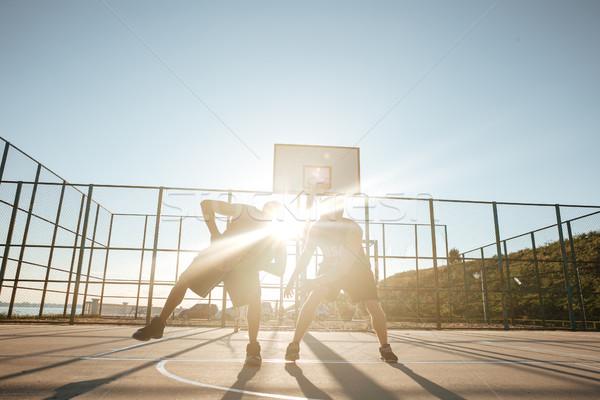 Portret dwa gry koszykówki boisko Zdjęcia stock © deandrobot