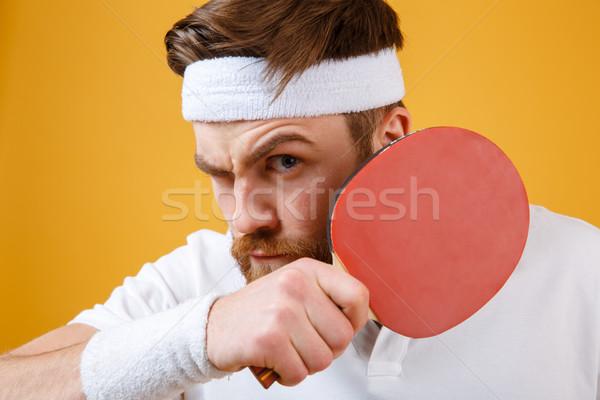 Knap jonge racket tafeltennis Stockfoto © deandrobot