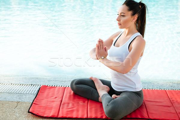 удивительный молодые фитнес Lady йога Сток-фото © deandrobot