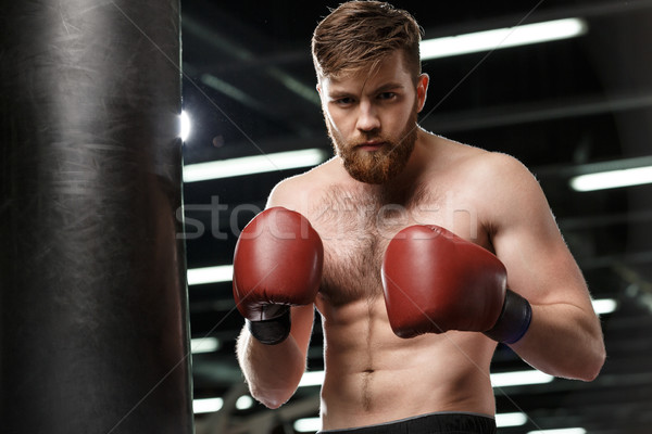 Serious handsome young strong sports man boxer Stock photo © deandrobot