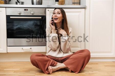 Genç kadın kadın iç çamaşırı zemin yatak odası Stok fotoğraf © deandrobot