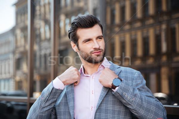Stock fotó: Portré · vonzó · fiatalember · kabát · város · férfi