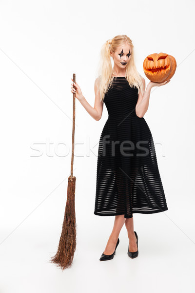 Porträt anziehend verspielt blonde Frau Hexe Stock foto © deandrobot