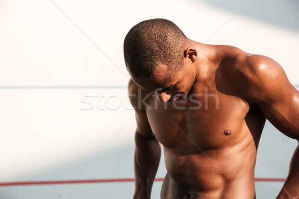 Közelkép portré izzadt jóképű afrikai sportok Stock fotó © deandrobot