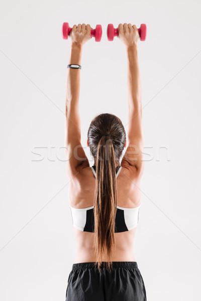 Hátulnézet portré egészséges karcsú sportoló tart Stock fotó © deandrobot
