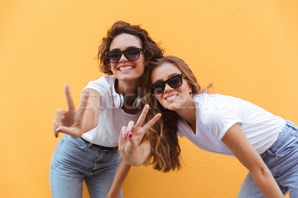 Kettő boldog derűs tinilányok napszemüveg mutat Stock fotó © deandrobot